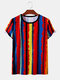 Mens National Style Colorful Striped Casual Light T-shirts - Red