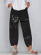 Black Cat Print Striped Patchwork Elastic Waist Plus Size Pants - Grey