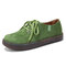 Women Casual Suede Round Toe Lace Up Flat Shoes - Green