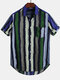 Mens Color Striped Casual Short Sleeve Shirts Wtih Pocket - Green