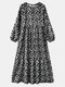 Floral Print Puff Sleeve Plus Size Casual Long Dress for Women - Black