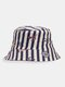 Unisex Cotton Anchor Sailing Lighthouse Print Double-sided Wearable Bucket Hat - #03