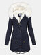Solid Color Button Long Sleeve Plush Coat With Pocket - Navy