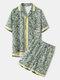 Mens Holiday Tropical Leaves Print Short Sleeve Shirt & Shorts Co-ords - Yellow