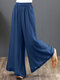 Casual Solid Color Wide-legged Elastic Waist Pants For Women - Blue