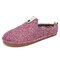 SOCOFY Solid Color Metal Buckle Household Cotton Slip On Indoor Flat Home Shoes Slippers - Pink