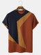 メンズニット不規則なカラーブロックステッチプレッピー半袖Tシャツ - オレンジ