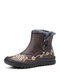 Women Solid Color Casual Retro Embroidered Warm Comfortable Soft Flat Short Boots - Brown