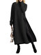 Solid Color Splited Long Sleeve O-neck Casual Dress For Women - Black