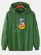 Mens Cartoon Astronaut Chest Print Solid Loose Drawstring Pullover Hoodies - Green