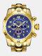 Large Dial Men Business Watch Multifunctional Luminous Calendar Waterproof Quartz Watch - Blue Dial Gold Band