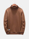 Mens Thermal Fleece Thick High Collar Solid Color Pullover Casual Fashion Warm Sweatshirt - Coffee