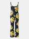 Mommy And Me Matching Outfit Sunflower Print Sleeveless Casual Jumpsuit - Black1