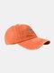 ユニセックスウォッシュドコットンソリッドカラースネークパターンプリントオールマッチファッションベースボールキャップ - オレンジ