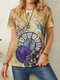 Vintage Print Short Sleeve O-neck Casual T-Shirt For Women - Yellow