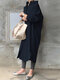 Solid Color Casual Long Sleeve Cotton Shirt Dress - Navy