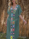 Women Weave Flower V-Neck Thin Sun Protection Cover Up Beach Maxi Dress - Green
