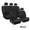 9Pcs/Set PU Leather Car Seat Detachable Covers Front Bucket Full Set Protector - Black