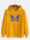 Mens Colorful Butterfly Graphic Print Solid Color Drawstring Hoodie - Yellow