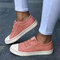 Large Size Women Canvas Elastic Band Casual Flat Shoes - Pink