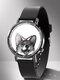 Animal Printed Men Business Watch Black-White Dogs Cats Pattern Women Quartz Watch - #04