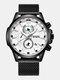 Small Three Pointer Men Business Watch Chronograph Calendar Waterproof Quartz Watch - Black Case White Dial