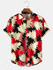 Mens All Over Leaf Print Lapel Holiday Short Sleeve Shirts - Red
