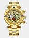 Multifunctional Men Business Watch Luminous Chronograph Calendar Quartz Watch - Gold Dial Gold Band