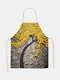 3D Tree Painting Pattern Cleaning Colorful Aprons Home Cooking Kitchen Apron Cook Wear Cotton Linen Adult Bibs - #04