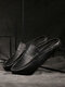 Men Casual Brief Pure Color Snake Veins Closed Toe Backless Slippers - Black