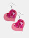 Vintage Heart-Shape Valentine's Day Heart Multilayer PU Leather Earrings - #01