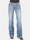Vintage Printed Button Casual Demin Jeans For Women - Blue