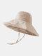 Women Cotton And Linen Solid Color Big Brim Sun Protection Bucket Hat - Beige 2#