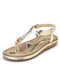 Large Size Comfortable Elastic Band Clip Toe Flat Beach Sandals - Gold