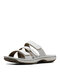 Plus Size Women Summer Casual Comfy Adjustment Hook Loop Slip On Beach Slippers - White