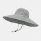 Hat Men's Sun Hat Outdoor Summer Big Along The Sun Hat Leisure Fisherman Hat Men Mountaineering Fishing Sun Hat - Light Grey