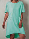 Casual Solid Color Short Sleeve Plus Size Dress with Pockets - Green