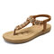 LOSTISY Women Clip Toe Rhinestone Comfy Elastic Beach Flat Sandals - Brown