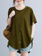 Solid Button Front High-low Short Sleeve Plus Size Casual T-shirt - Army Green