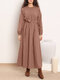 Solid Color Waistband O-neck Long Sleeve Casual Dress for Women - Pink