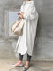 Solid Color Casual Long Sleeve Cotton Shirt Dress - White