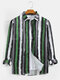 Mens Cotton Multi-Color Vertical Stripe Casual Long Sleeve Shirts - Green