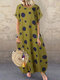 Polka Dot Print Short Sleeve Plus Size Baggy Dress with Pockets - Yellow