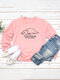 Cute Cat Print O-neck Long Sleeves Casual Sweatshirts for Women - Pink