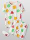 3Pcs Women Geometry Print Short Sleeve Pajamas Sets With Eye Cover - White