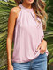 Solid Sleeveless O-neck Pleated Button Women Tank Top - Pink