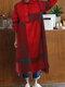 Women Plaid Print Long Sleeves Turn Down Collar Patchwork Dress - Wine Red