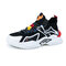 Men Breathable Knitted Fabric Color Blocking Lace-up Chunky Sneaker Shoes - Black Red