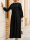 Casual Solid Color Zip Front Long Sleeve O-neck Plus Size Knotted Dress - Black