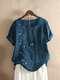 Embroidery Floral Short Sleeve Vintage T-shirt For Women - Lake Blue